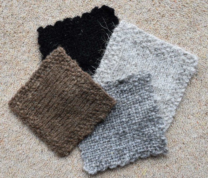 Woven and knitted squares — Clockwise from top left: Hebridean, Boreray, North Ronaldsay, Castlemilk Moorit