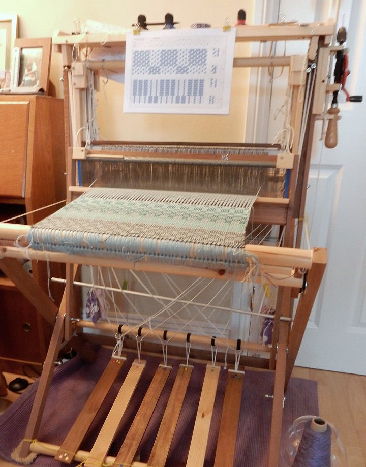 Home-made four-shaft loom with summer and winter towels