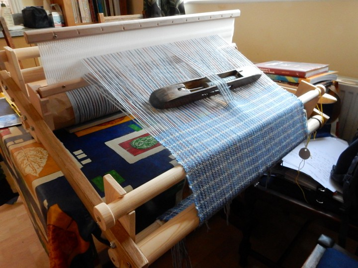 Jacket fabric on home-made rigid heddle loom